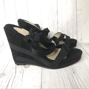 Christian Louboutin suede black wedge sandals